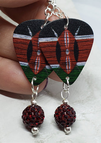 Kenyan Flag Guitar Pick Earrings with Red Pave Bead Dangles