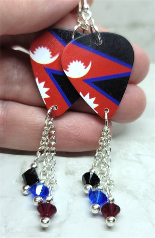 Nepali Flag Guitar Pick Earrings with Swarovski Crystal Dangles