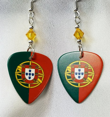 Portuguese Flag Guitar Pick Earrings with Golden Yellow Swarovski Crystals
