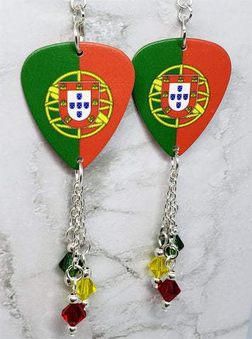 Portuguese Flag Guitar Pick Earrings with Swarovski Crystal Dangles