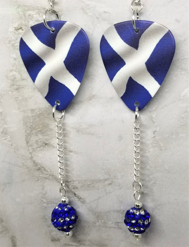 Scottish Flag Guitar Pick Earrings with Blue and White Striped Pave Bead Dangles