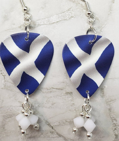 Scottish Flag Guitar Pick Earrings with White Swarovski Crystal Dangles