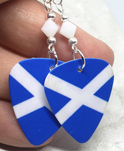 Scottish Flag Guitar Pick Earrings with White Swarovski Crystals