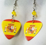 Spanish Flag Guitar Pick Earrings with Yellow Opal Swarovski Crystals