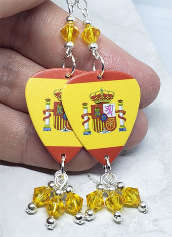Spanish Flag Guitar Pick Earrings with Yellow Swarovski Crystals