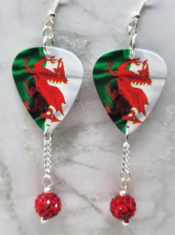 Welsh Flag Guitar Pick Earrings with Red Pave Bead Dangles
