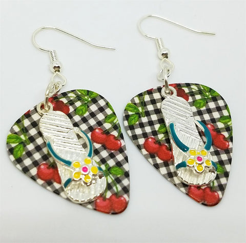 Flip Flop Charm Guitar Pick Earrings - Pick Your Color