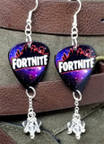 Fortnite Guitar Pick Earrings with Clear Swarovski Crystal Dangles