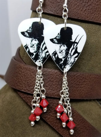 Freddy Nightmare on Elm Street Guitar Pick Earrings with Red Swarovski Crystal Dangles