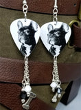French Bulldog Guitar Pick Earrings with Silver Bone Charm and Swarovski Crystal Dangles