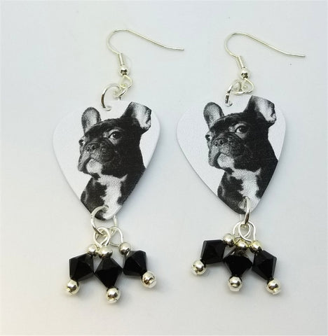 French Bulldog Guitar Pick Earrings with Black Swarovski Crystal Dangles