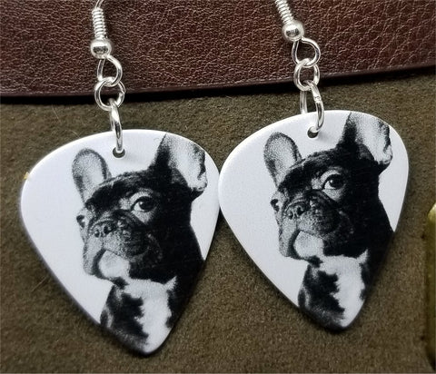 French Bulldog Guitar Pick Earrings