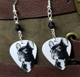French Bulldog Guitar Pick Earrings with Black Swarovski Crystals
