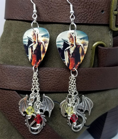Game of Thrones Daenerys Targaryen Guitar Pick Earrings with Large Dragon Charms and Swarovski Crystal Dangles