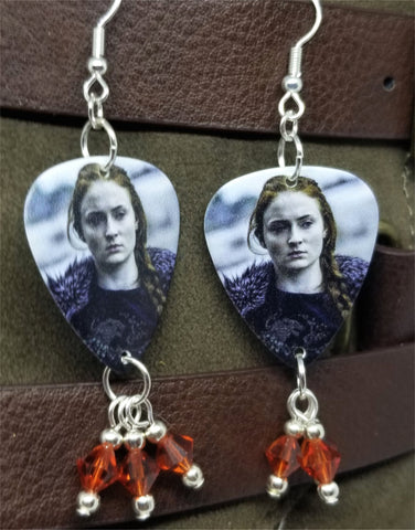 Game of Thrones Sansa Stark Guitar Pick Earrings with Indian Red Swarovski Crystal Dangles
