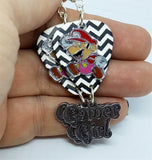 Mario Gamer Girl Charms on Black and White Chevron Guitar Pick Earrings