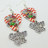 Mario Gamer Girl Charms on Red and White Chevron Guitar Pick Earrings