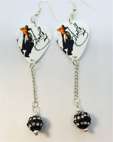 Garth Brooks with Printed Signature Guitar Pick Earrings with Black and White Striped Pave Dangles