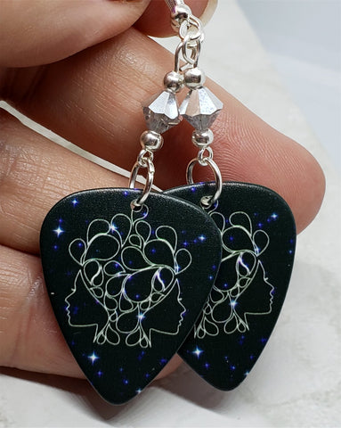 Horoscope Astrological Sign Gemini Guitar Pick Earrings with Metallic Silver Swarovski Crystals