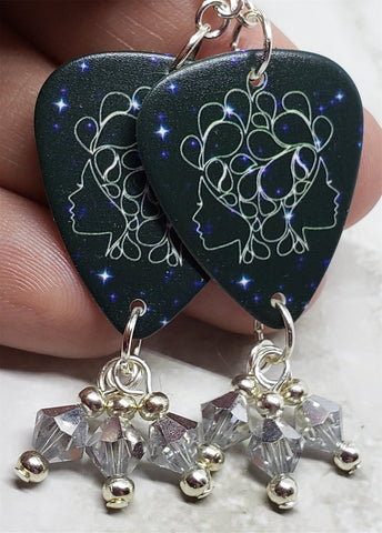 Horoscope Astrological Sign Gemini Guitar Pick Earrings with Metallic Silver Swarovski Crystal Dangles