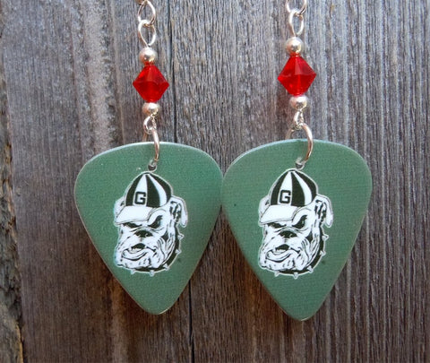 Gray University of Georgia Bulldogs Guitar Pick Earrings with Red Swarovski Crystals