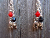 University of Georgia Bulldogs Guitar Pick Earrings with Charm and Swarovski Crystal Dangles