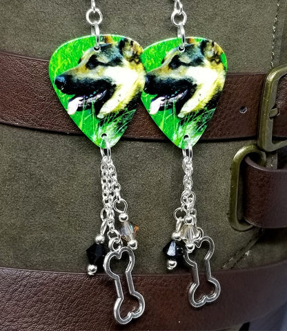 German Shepherd Guitar Pick Earrings with Dog Bone Charm and Swarovski Crystal Dangles