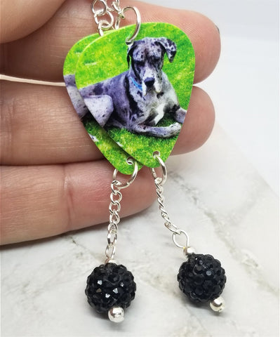 Great Dane Guitar Pick Earrings with Black Pave Bead Dangles