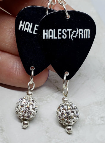 Halestorm Guitar Pick Earrings with White Pave Bead Dangles