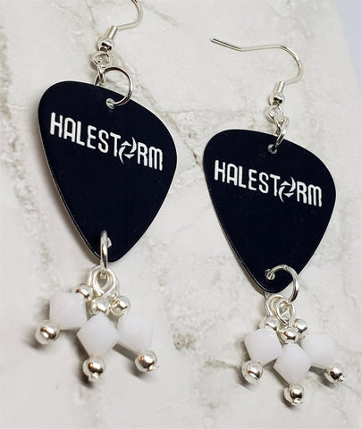 Halestorm Guitar Pick Earrings with White Alabaster Swarovski Crystal Dangles