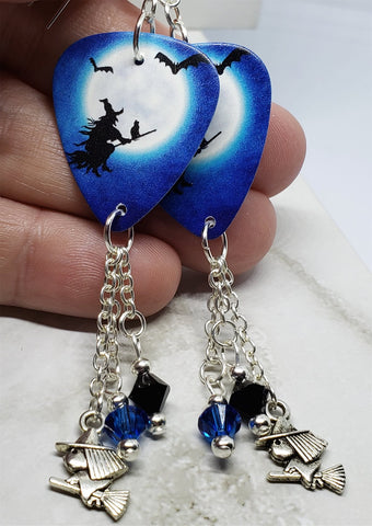 Witch on Broomstick with Cat Guitar Pick Earrings with Charm and Swarovski Crystal Dangles