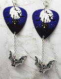 Haunted Castle in Front of a Full Moon Guitar Pick Earrings with Bat Charm Dangles