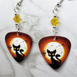Black Cat and Flying Bats in Front of a Full Moon Guitar Pick Earrings with Yellow Swarovski Crystals