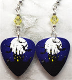 Haunted Castle in Front of a Full Moon Guitar Pick Earrings with Yellow Swarovski Crystals