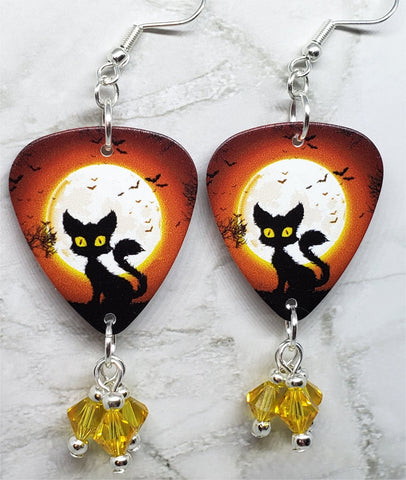 Black Cat and Flying Bats in Front of a Full Moon Guitar Pick Earrings with Yellow Swarovski Crystal Dangles