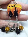 Haunted Castle with Bats and Ghosts Guitar Pick Earrings with Bat Charms and Pave Bead Dangles