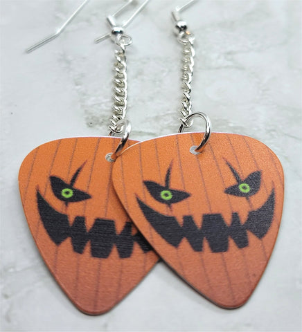 Jack O' Lantern Dangling Guitar Pick Earrings