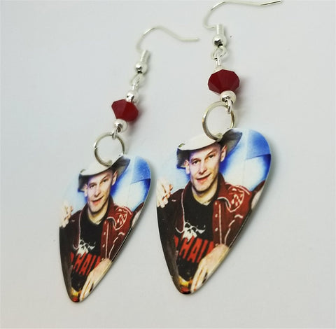 Hank Williams III Guitar Pick Earrings with Red Swarovski Crystals