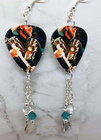 Hank Williams Jr Guitar Pick Earrings with Metal Guitar Charms and Swarovski Crystal Dangles