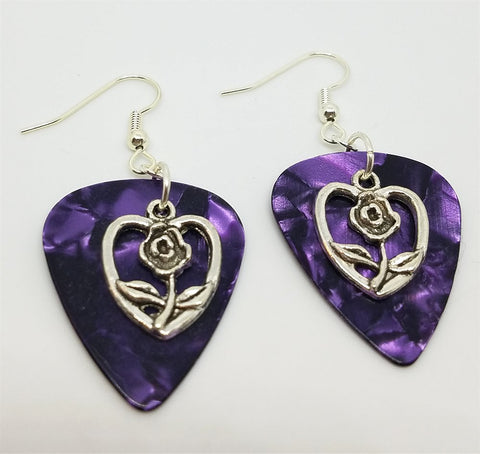 Rose Inside a Heart Charm Guitar Pick Earrings - Pick Your Color