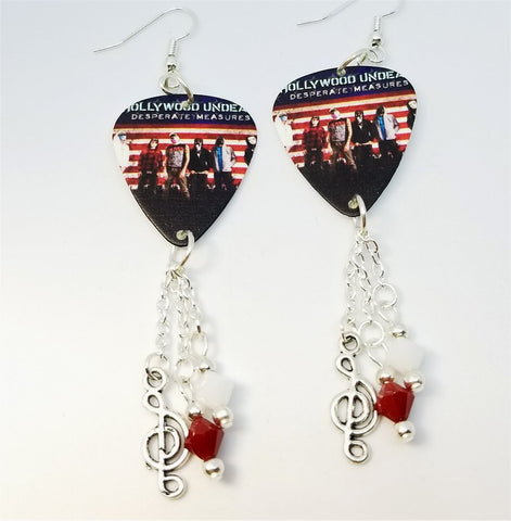 Hollywood Undead Desperate Measures Guitar Pick Earrings with Charms and Swarovski Crystal Dangles
