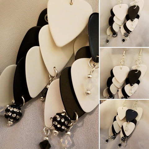 Black and White Cascading Guitar Pick Earrings with Crystals and Pave Beads