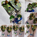 Peacock Guitar Pick Earrings with Swarovski Crystal Dangles
