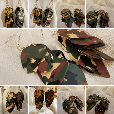 Cascading Camo Guitar Pick Earrings