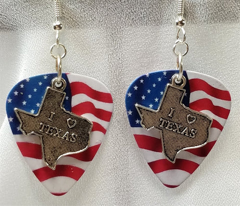 I Love Texas Charm Guitar Pick Earrings - Pick Your Color