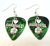 I Heart Basketball Charm Guitar Pick Earrings - Pick Your Color