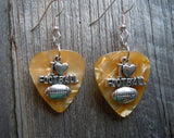 I Heart Football Charm Guitar Pick Earrings - Pick Your Color