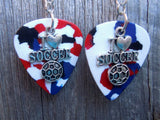 I Heart Soccer Charm Guitar Pick Earrings - Pick Your Color