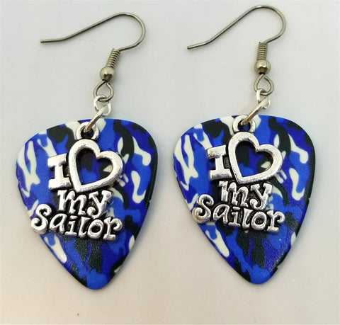 I Heart My Sailor Charm Guitar Pick Earrings - Pick Your Color