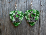 I Heart My Soldier Charm Guitar Pick Earrings - Pick Your Color